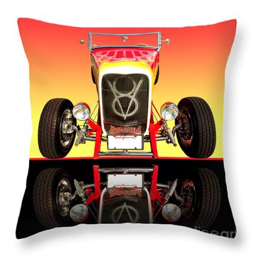 1932 Front Ford V8 Hotrod Throw Pillow by Jim Carrell