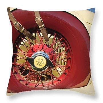 Throw Pillow featuring the photograph 1933 Auburn 12-161a Custom Speedster Spare Tire Emblem by Jill Reger