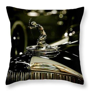 1933 Pierce Arrow Hood Ornament Throw Pillow by Nina Prommer