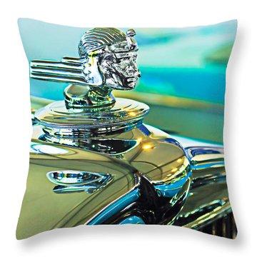 1933 Stutz Dv-32 Hood Ornament Throw Pillow by Jill Reger