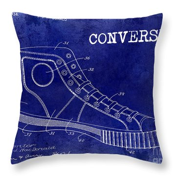1934 Converse Shoe Patent Drawing Blue Throw Pillow by Jon Neidert