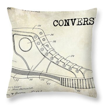 1934 Converse Shoe Patent Drawing Throw Pillow by Jon Neidert