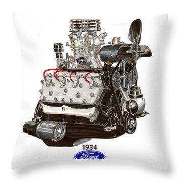 1934 Ford Flathead V 8  Throw Pillow by Jack Pumphrey