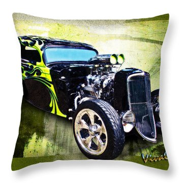 1934 Ford Three Window Coupe Hot Rod Throw Pillow