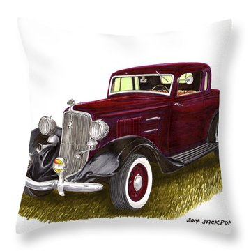 1934 Plymouth P E Coupe Throw Pillow by Jack Pumphrey