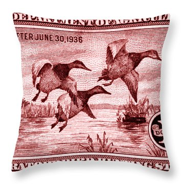 1935 American Bird Hunting Stamp Throw Pillow
