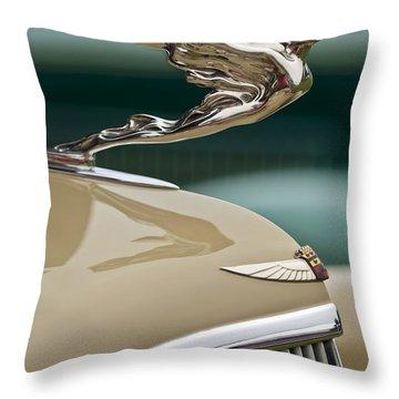 1935 Cadillac Convertible Hood Ornament Throw Pillow by Jill Reger