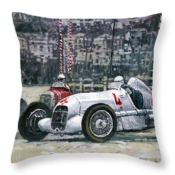1935 Monaco Gp Mercedes-benz W25 #4 L. Fagioli Winner  Throw Pillow
