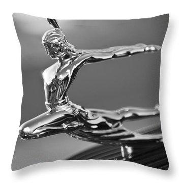 1935 Pontiac Sedan Hood Ornament 4 Throw Pillow by Jill Reger