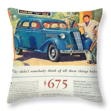 1936 - Nash Sedan Automobile Advertisement - Color Throw Pillow