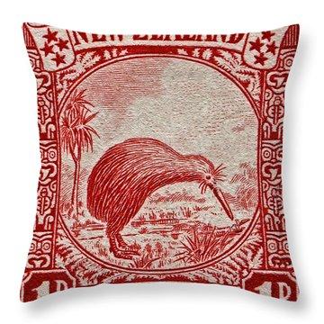 1936 New Zealand Kiwi Stamp Throw Pillow