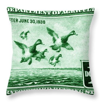 1937 American Bird Hunting Stamp Throw Pillow by Historic Image