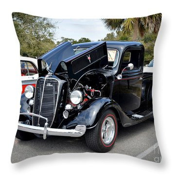 Throw Pillow featuring the photograph 1937 Ford Pick Up by Kathy Baccari