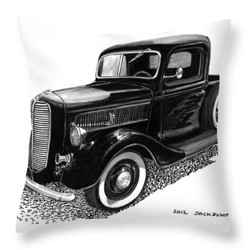 Ford Pick Up Truck Throw Pillow by Jack Pumphrey