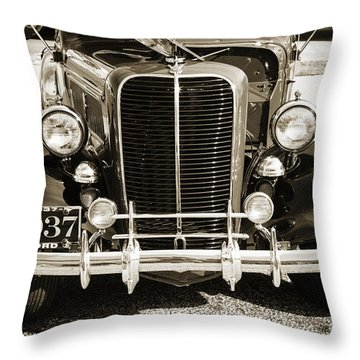 1937 Ford Pickup Truck Classic Car Front End Photograph In Sepia Throw Pillow