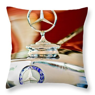 1937 Mercedes-benz Cabriolet Hood Ornament Throw Pillow by Jill Reger