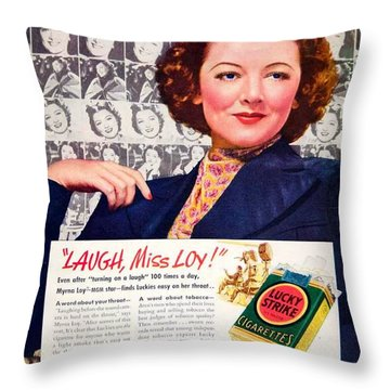 1938 - Lucky Strike Cigarettes Advertising - Myrna Loy - Color Throw Pillow