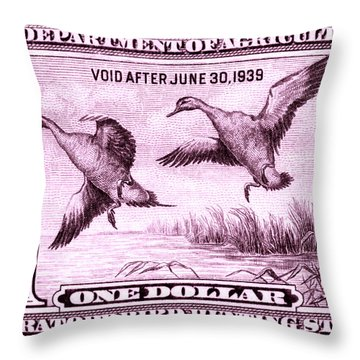 1938 American Bird Hunting Stamp Throw Pillow