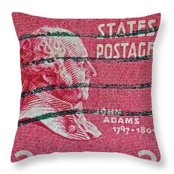 1938 John Adams Stamp Throw Pillow by Bill Owen