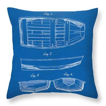 1938 Rowboat Patent Artwork - Blueprint Throw Pillow by Nikki Marie Smith