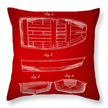 1938 Rowboat Patent Artwork - Red Throw Pillow by Nikki Marie Smith