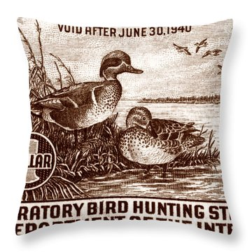 1939 American Bird Hunting Stamp Throw Pillow
