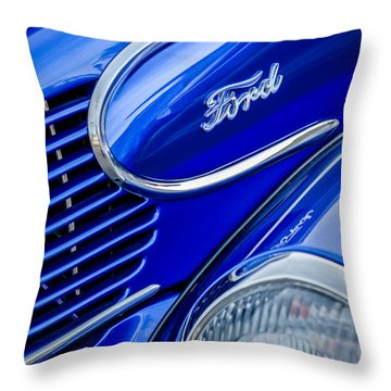 1939 Ford Woody Wagon Side Emblem Throw Pillow by Jill Reger