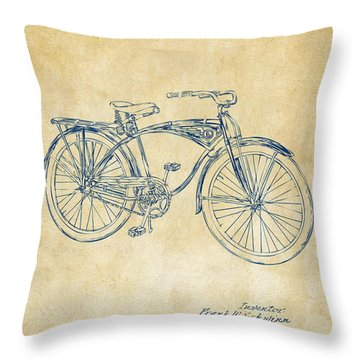 1939 Schwinn Bicycle Patent Artwork Vintage Throw Pillow