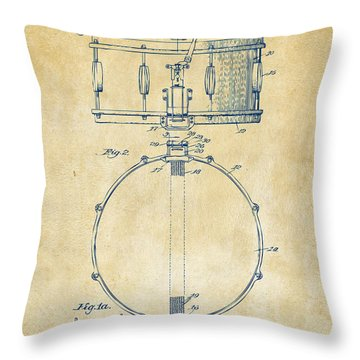 1939 Snare Drum Patent Vintage Throw Pillow