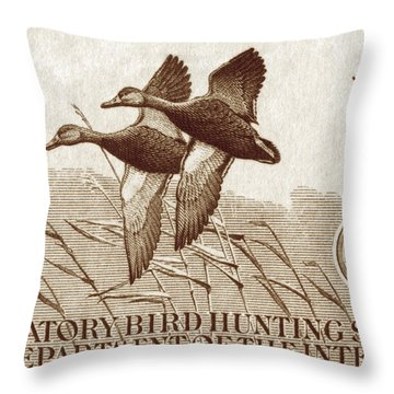 1940 American Bird Hunting Stamp Throw Pillow