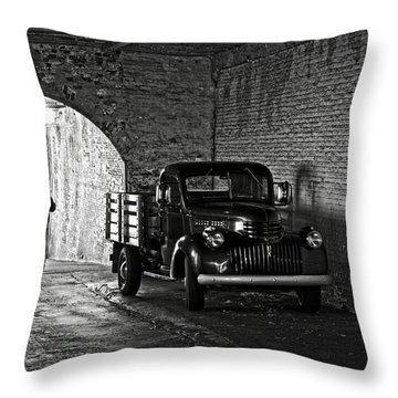 1940 Chevrolet Pickup Truck In Alcatraz Prison Throw Pillow by RicardMN Photography