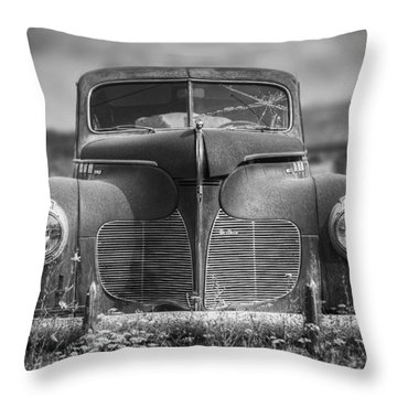 1940 Desoto Deluxe Black And White Throw Pillow