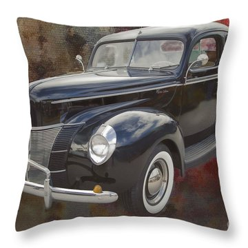 1940 Ford Deluxe Photograph Of Classic Car Painting In Color 319 Throw Pillow