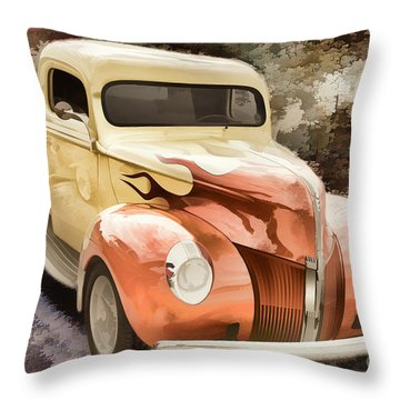1940 Ford Pickup Truck Painting Car Or Automobile In Color  3133 Throw Pillow