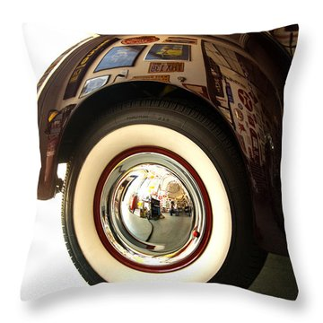 Throw Pillow featuring the photograph Classic Maroon 1940 Ford Rear Fender And Wheel   by Jerry Cowart