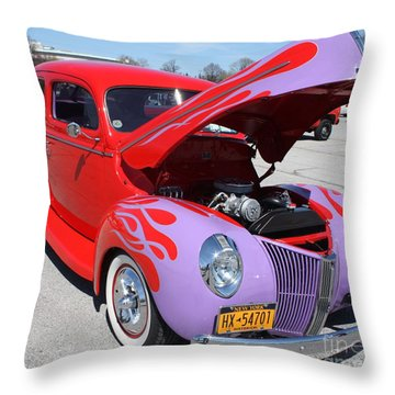 1940 Ford Two Door Sedan Hot Rod Throw Pillow
