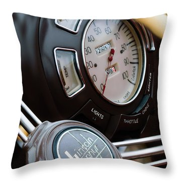 1938 Lincoln-zephyr Continental Cabriolet Steering Wheel Emblem -1817c Throw Pillow