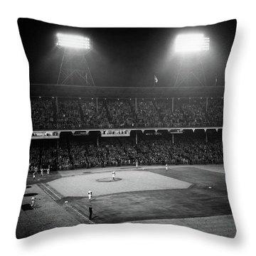 1940s 1947 Baseball Night Game Throw Pillow