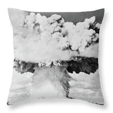 1940s 1950s Atomic Bomb Blast Mushroom Throw Pillow