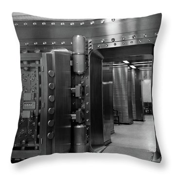 1940s 1950s Bank Interior Massive Vault Throw Pillow