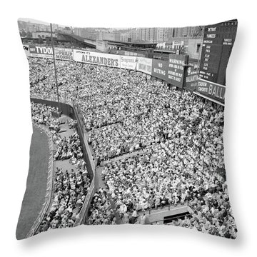 1940s 1950s Large Crowd Yankee Stadium Throw Pillow