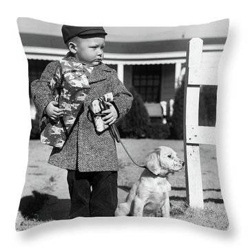 1940s Boy With Puppy On Leash Holding Throw Pillow