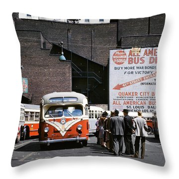 1940s Buses And Passengers Times Square Throw Pillow