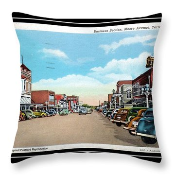 1940s Downtown Terrell Texas Throw Pillow