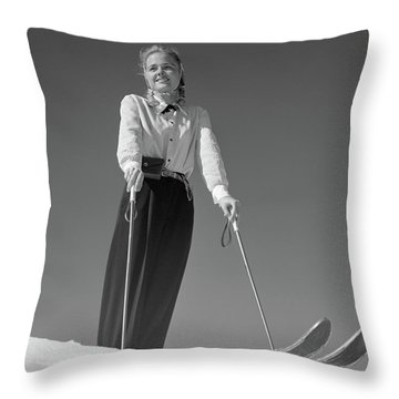 1940s Smiling Blond Woman Skier Poised Throw Pillow