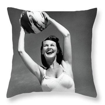 1940s Smiling Woman In White Bathing Throw Pillow