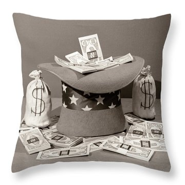1940s Still Life Of Upside-down Uncle Throw Pillow