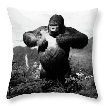 1940s Stuffed Gorilla Gorilla Gorilla Throw Pillow