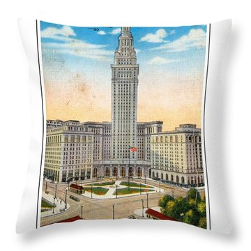 1940s Terminal Tower Cleveland Ohio Throw Pillow