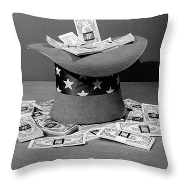 1940s Upside Down Uncle Sam Hat Filled Throw Pillow